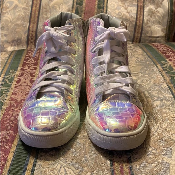 Justice Holo Croc High Tops Shoes Size